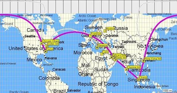 Around The World Hong Kong Singapore Chennai Muscat And Home - Us Flight Path Map